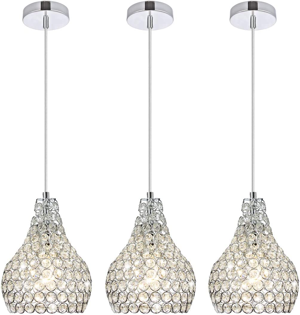 Popilion 3 Pack Ornate Chrome Limited price Crystal A Light Ceiling Pendant Max 58% OFF