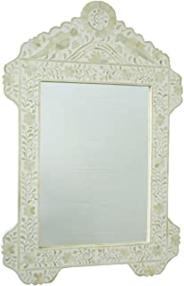 Anjaneya Art White Bone Inlay Bird Mirror