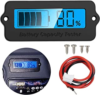 Icstation Voltage Capacity Tester Moudle 12V-48V Lithium-ion Lead-acid Battery Status Indicator LCD Digital Power Monitor for Balance Car Vehicle Skateboard (Blue Backlight)