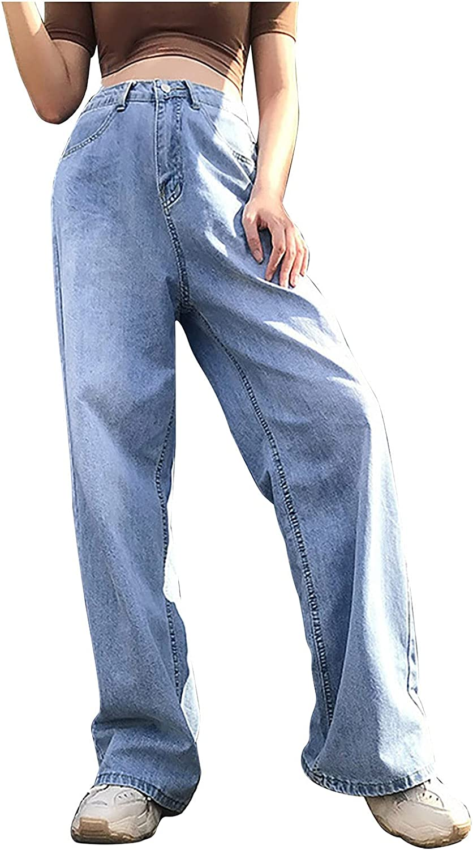Amazingdays Womens Jeans High Waisted Baggy Jeans Wide Leg Blue Y2k Jeans Trendy Casual Denim Pants