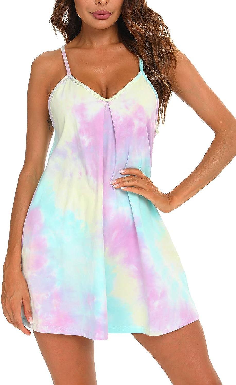 AVIIER Nigthgowns for Women Cotton Sleep Shirt Tie dye Night Dress V Neck Sleeveless Sleepwear Short Chemise S-XXL