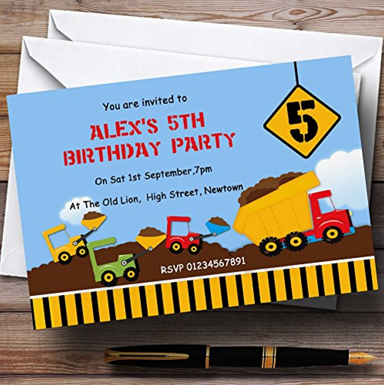 Construction Digger Theme Personalised Birthday Party Invitations   Invites & Envelopes