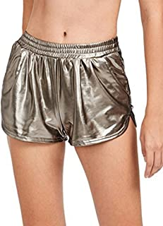 SweatyRocks Women's Yoga Hot Shorts Shiny Metallic Pants Gold XXL