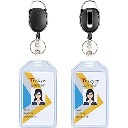 Teskyer Porte-badges rétractables durables, ensemble de porte-clés avec mousqueton et style, porte-badge d'identification verticale, extra épais, doux, transparent, 2 pièces