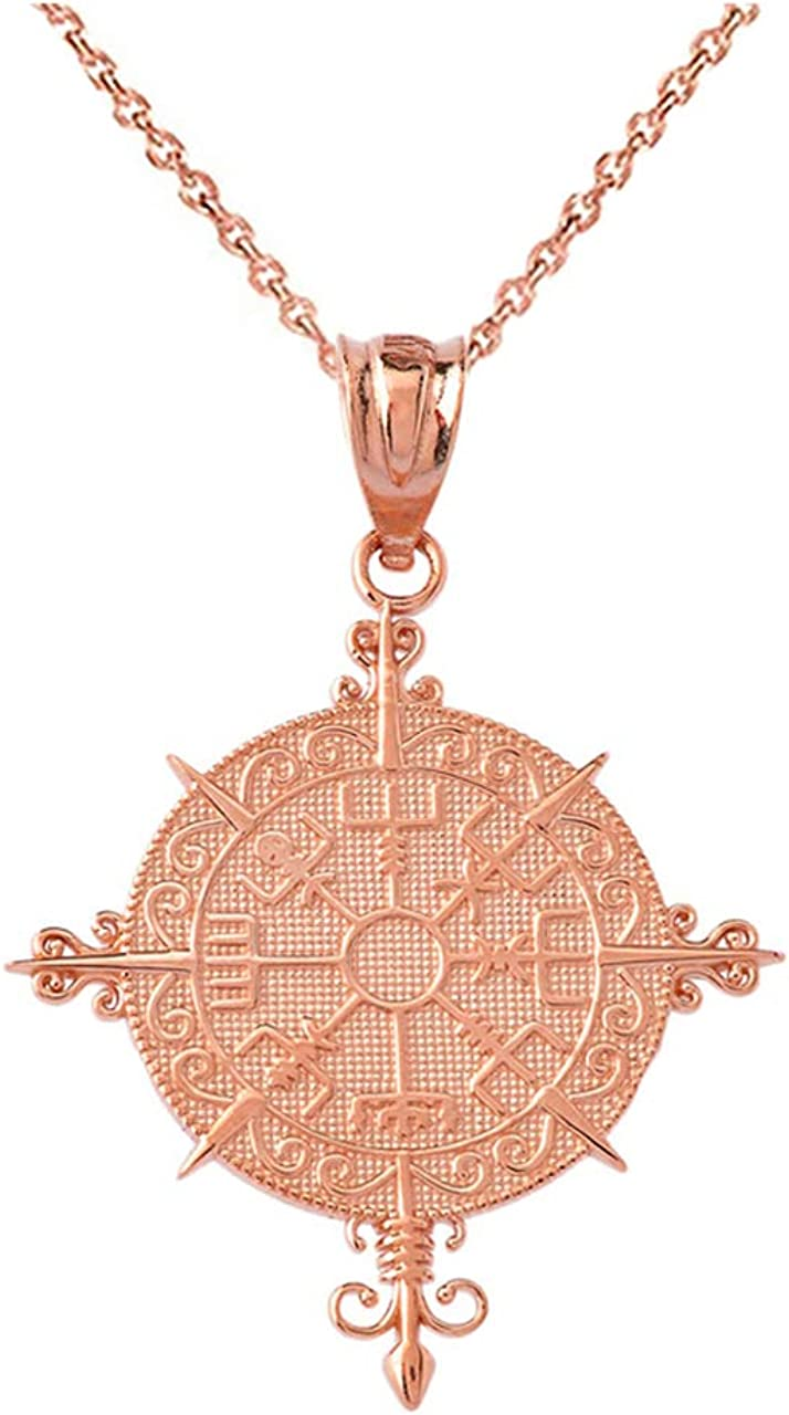 Certified 10k Gold Vegvisir Viking Nordic Direct sale of manufacturer P 2021 autumn and winter new Amulet Norse Compass