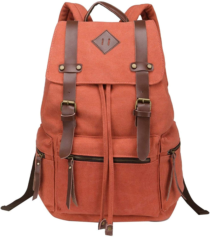 Hulday Daypacks Canvas Vintage Rucksack Damen Herren Schulrucksack Retro Daypack Backpack Einfacher Stil Wanderrucksack Reisetasche Für Laptop Camping Campus Schule Arbeit Reisen Wandern Bergsteigen O