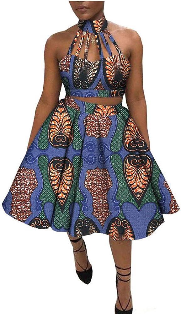 Afripride Handmade Ankara 2 Pieces Skirt Set for Women Short Top+Knee Length Flare Skirt A1826031