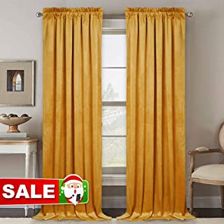 RYB HOME Velvet Curtain 84 inches - Heavy Duty Christmas Decoration Curtains Bedroom Room Darkening Drapes Window Set for Home Theatre Dining Living Room, 52 x 84 inch, Yellowish Gold, 1 Pair