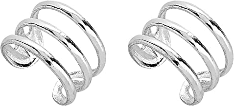 Amkaka S925 Sterling Silver Non Piercing Ear Clip Cuff Wrap Earrings for Women(1 Pair)