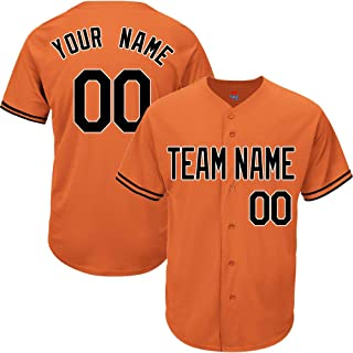 Orange Custom Baseball Jersey for Men Women Youth Replica Embroidered Team Player Name & Numbers S-8XL - Design Your Own
