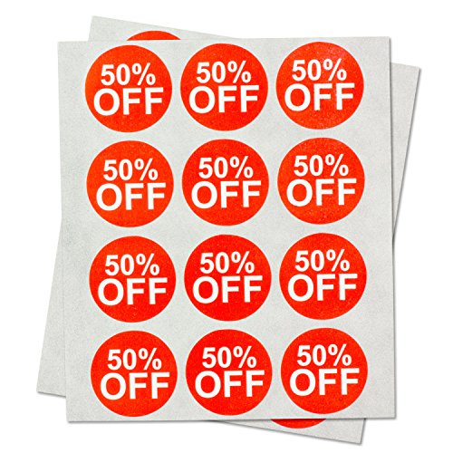 """Garage Yard Sale Price Stickers Labels [50% Percent Off] for Retail Store Clearance PromotionDiscount Deals Circle Pricemarker Half Off Labels Stickers (Red and White / 1"""") - 300 Labels per Package"""