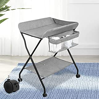 Adjustable Height,Table Baby Care Table Touching Portable Foldable Bed Bath Changing Diaper Wet Newborn Baby Mobile Nursery Organizer Baby Changing Stations With Wheels Baby Products Diaper