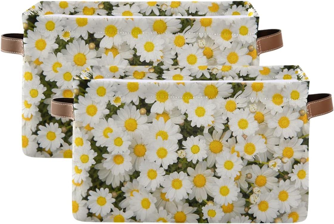 Finally popular brand ADAKing Storage Basket Flower Daisy Floral L depot Canvas 2 Pc Pattern