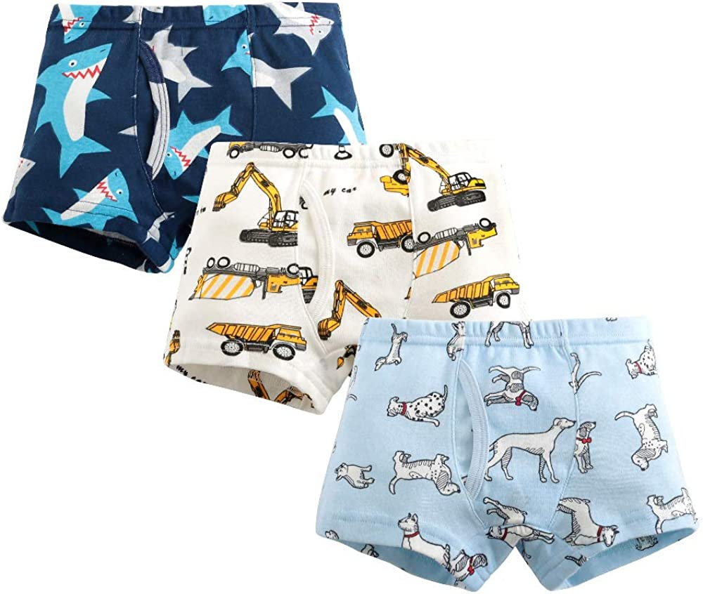 Little Boys Cotton Boxer Brief Kids Series Soft Comfort Toddler Underwear Boys Shorts Underpants Pack of 3