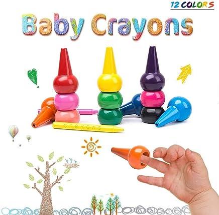 peuters kinderen wasbare vinger Verfkrijtjes Stapelbare Sticks Speelgoed voor Babys MERIT OCEAN Wachsmalstifte 12 kleuren 3D Handgrijpers met Palet en 6 gewone kleurpotloden Niet-giftige