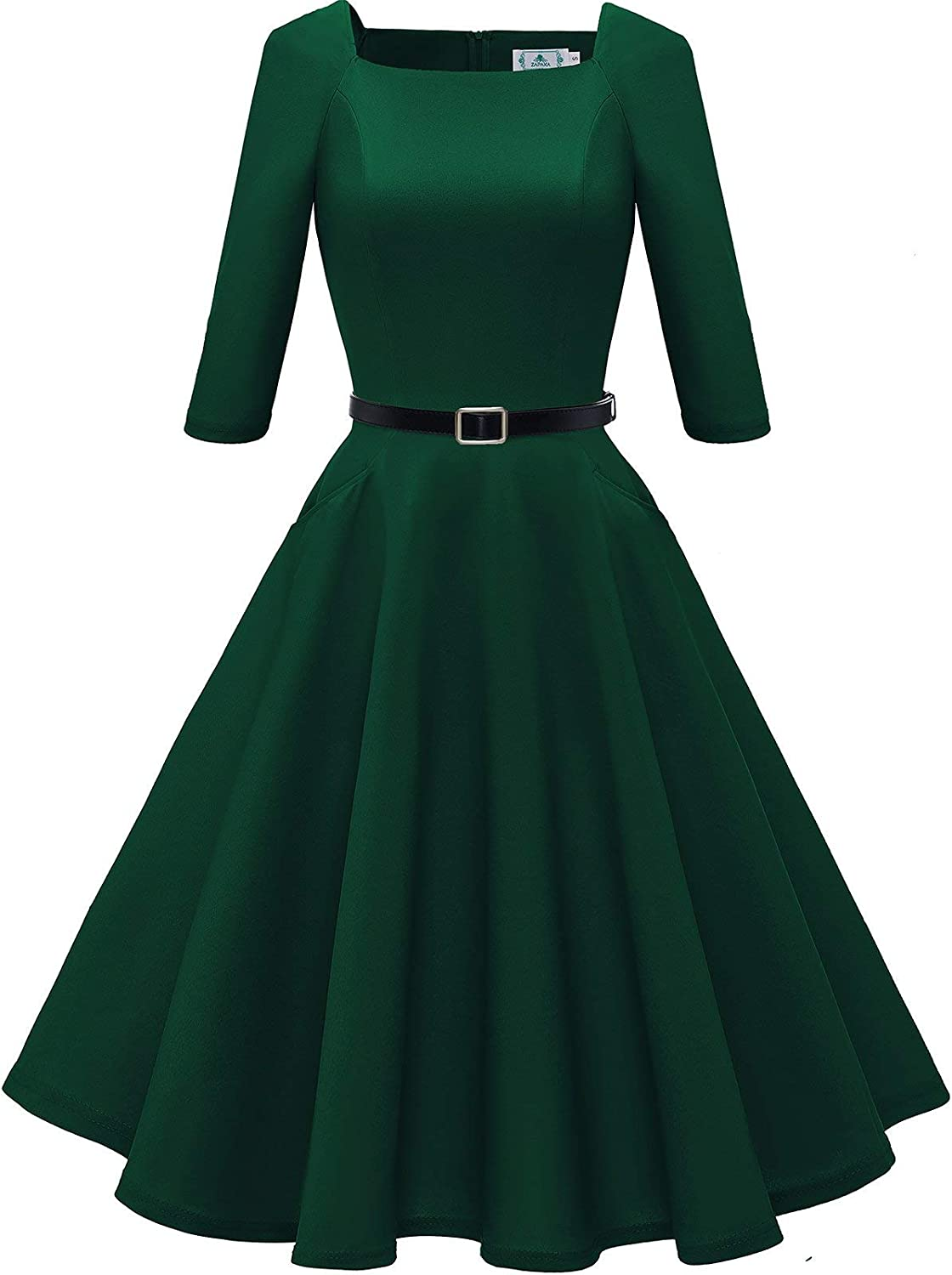 ZAPAKA Women's Vintage Square Neck 3/4 Sleeve Cocktail Party Flare Midi Pockets Dress with Belt