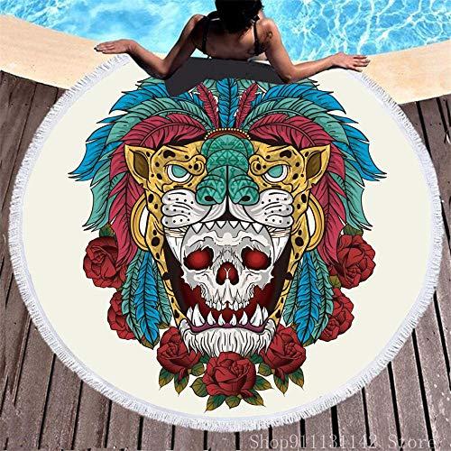 BCDJYFL Secado Rápido Toalla De Playa Cráneo Creativo Impresa con Patrón 3D HD De Manta Lavable Adecuada para Playa Picnic Yoga Parque Infantil Familia.-Diámetro: 150Cm