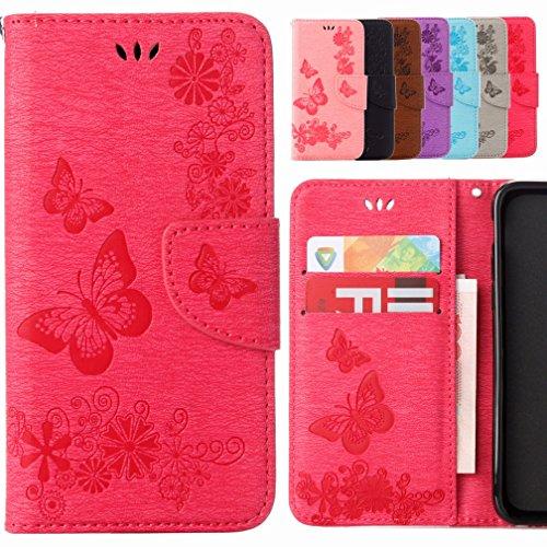 Yiizy Samsung Galaxy S5 Mini G800F Coque Etui, Papillon Fleur Design Flip PU Cuir Cover Couverture Coquille Portefeuille Housse Média Fente pour Carte Protecteur Skin Poche (Rose Rouge)