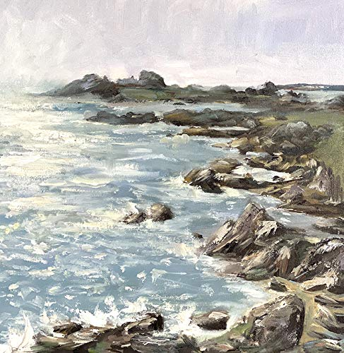 Bretagne Meerbild Maritim Bild Landschaft Kunst Original Ölmalerei Gemälde 30x30 cm