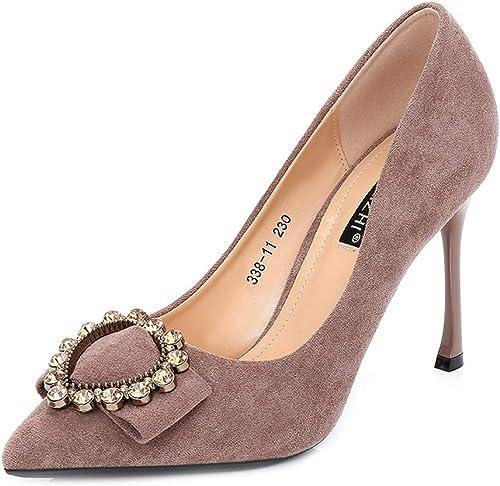 LHWAN Hlg femme talons talons hauts en daim talons pointus bouche peu profonde rhinestone buckle robe chaussures de soirée  promotions passionnantes