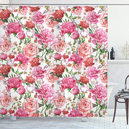 Ambesonne Watercolor Flower Decor Shower Curtain Set, Victorian Style Floral Pattern Painting Style Print with Peonies and Roses, Bathroom Accessories, 69W X 70L Inches, Pink and White