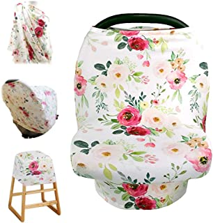 Stretchy Baby Carseat Cover with 4-in-1 Multi-use for Baby Carseat & Nursing/Breastfeeding Infinity Scarf & Stroller & Feeding high Chair Versatile Cover for Baby Girls by TIANNUOFA -Retro Flower