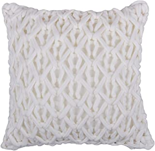 King Rose Handmade Woven Cable Knit Personalized Decorative Accent Throw Pillow Covers Square Cushion Shams 18 x 18 Inches White