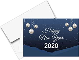 2020 Happy New Year – Blue Holiday Greetings Fold Over Cards & Envelopes, for Christmas and New Yrs Gifts and Presents | 25 Cards and 25 Envelopes per Pack | 4 1/2
