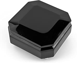 Midnight Black 18 Note Hi Gloss Beveled Musical Jewelry Box - Over 400 Song Choices - Torna A Sorrento (Return to Sorrento)