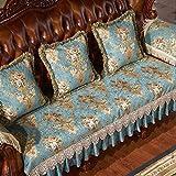 HJUNH Funda de sofá 1/2/3/4 plazas,Protector de sofá en Forma de L, Falda de Encaje de Cinta de Seda, Funda de sofá Antideslizante,-Verde_80 * 90 cm (31 * 29 Pulgadas)