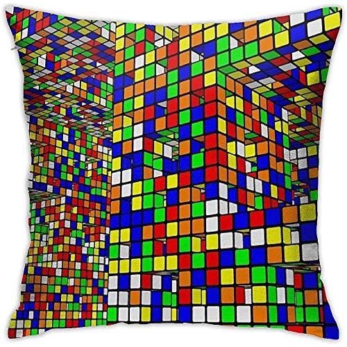 Fundas de Almohada Funda de Almohada Cuadrada Soft Rubiks World Cushion Case