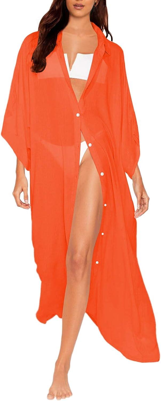 AOHITE Women's Swimsuit Cover Ups Batwing Sleeve Bikini Beachwear Button Down Bathing Suit Chiffon Shirt