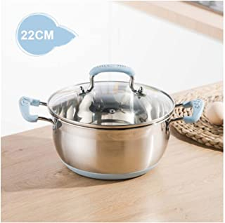 AO-pots Soup pot Stew pot saucepan stainless steel anti-slip insulated double handle non-stick bottom creative mother's day father's day gift (Color : Blue A)