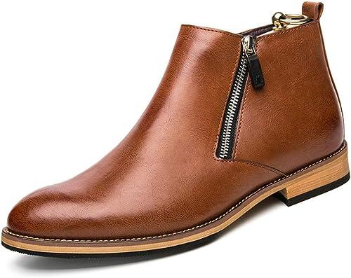XHD-Chaussures Bottines Simples pour Hommes Loisirs Bottes de Marche Classiques de Style Britannique (Couleur   Marron, Taille   43 EU)