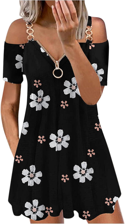 ManxiVoo Women's Zipper Neck Metal Strap Short Sleeve Cold Shoulder Casual Flower Print Short Mini Swing Dress