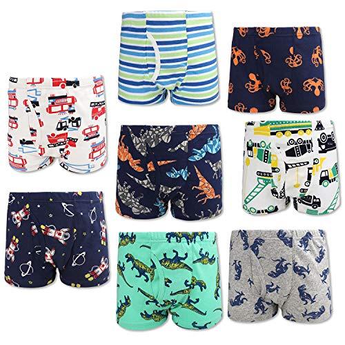 FLYISH DIRECT Boxershorts für Jungen, 8 Stück, Unterwäsche, Jungen, Boxershorts aus Baumwolle, Slips, Höschen, 3–4 Jahre
