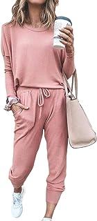 Selowin Women Casual 2 Piece Tie Dye Sweatsuit Long Sleeve Loungewear Outfits Tracksuit Jogger Set