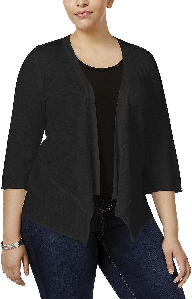 Alfani Womens Plus Linen Solid Cardigan