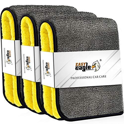EASY EAGLE 3X Mikrofasertücher 1200GSM zur Professionellen Autopflege, Ultraweich für Perfekte Lackpflege, 38 x 44 cm