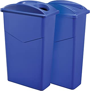 Global Industrial Dual Recycling Trash Container System, 23 Gallon, Blue