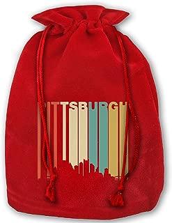 Retro 1970s Pittsburgh Pennsylvania Downtown Skyline Christmas Gift Bags,Red Velvet Santa Sack Drawstring Bags for Xmas Presents