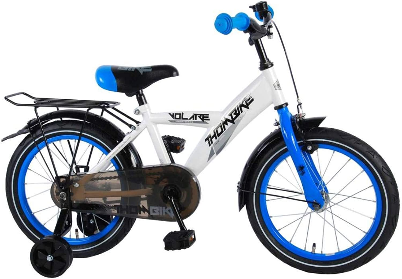 precios bajos todos los dias .Volare Bicicleta Niño 16 Pulgadas Thombike con y y y Portaequipajes Trasera blancoo Azul por 95% Montada  Envio gratis en todas las ordenes