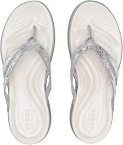 19080fc90b92a Crocs a leigh flip flop metallic leather silver gold