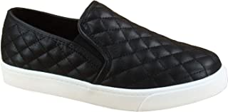 FZ-Alone-M Women's Fashion Slip On Round Toe Flat Quilted Sneaker Shoes