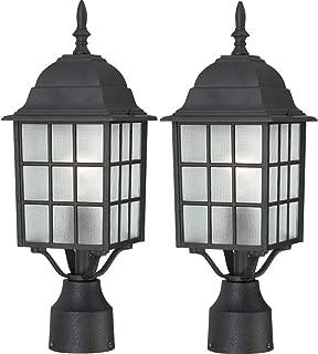 Nuvo Lighting 60/4909 Adams One Light Post Lantern 100 Watt A19 Max. Frosted Glass Textured Black Outdoor Fixture (Textured Black, 2 Pack)