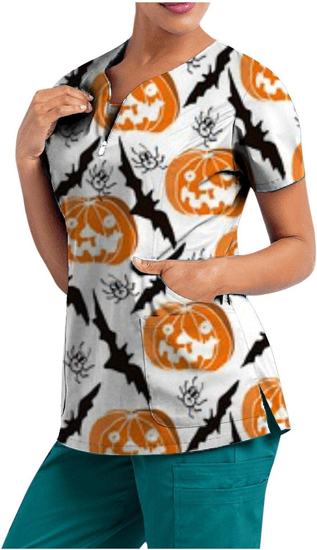 MASZONE Scrub_Top for Womens Halloween Pumpkin Ghost Nurses_Tunic V-Neck Workwear Top Work Uniform Short Sleeve T-Shirts