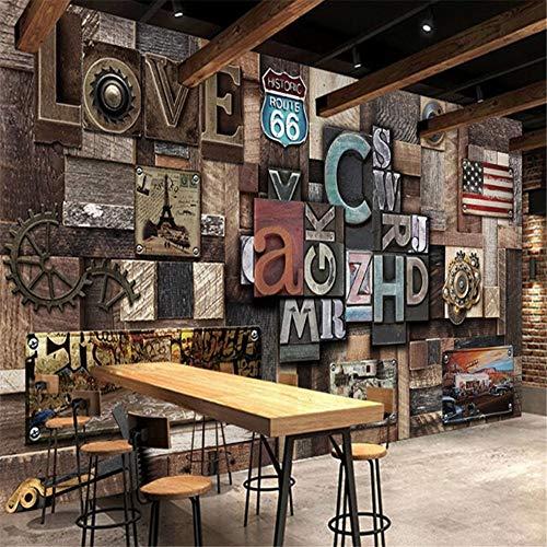 DXBH Decoración industrial de la pared del fondo del viento industrial de la barra del claro del café de la barra nostálgica retra grande 3D, 200X140Cm
