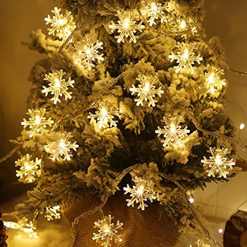 Cadena de Luces LED a Pilas, 〖2.5Metros 20LED〗Nieves Lights Hadas Guirnalda Luminosas en Decoración Habitación Exterior&Interior para Boda, Fiestas, Navidad, Jardín Elección de 2 Modos (Nieves)