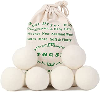 Wool Dryer Balls Organic XL 6-Pack, Reusable Fabric Softener, Dryer Sheets Alternative by FHQSX