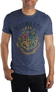 Harry Potter Hogwarts Crest and Motto Draco Dormiens Nunquam Titillandus Men's Blue Tee T-Shirt Shirt
